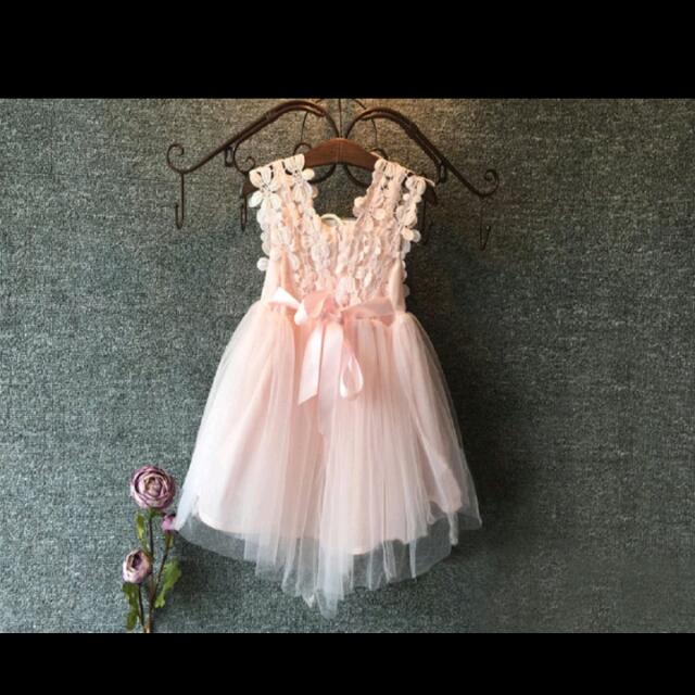 db1c60ee94d High Girl Princess Party Pearl Lace Tulle Flower Gown Fancy Dress ...