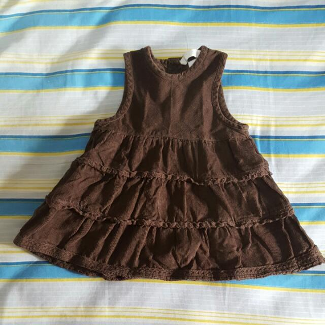 H&M 100% Cotton Brown Corduroy Sleeveless Dress (Baby 2-4 mos old)