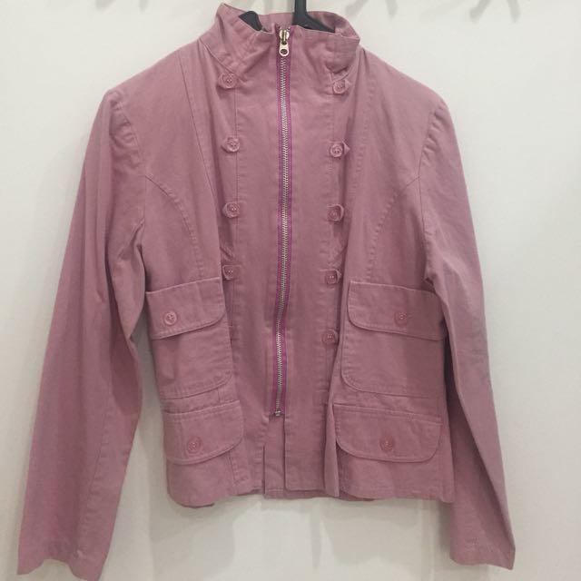 Jaket Cewe Pink Dusty