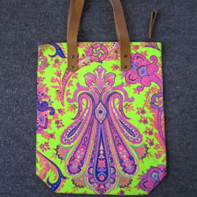 Lime Green Floral Tote Bag