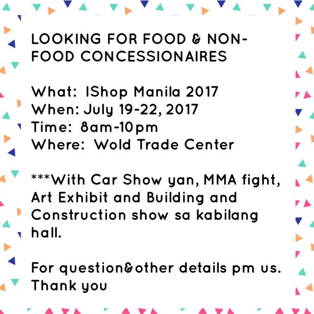 LOOKING FOR FOOD&NON-FOOD CONCESSIONAIRES