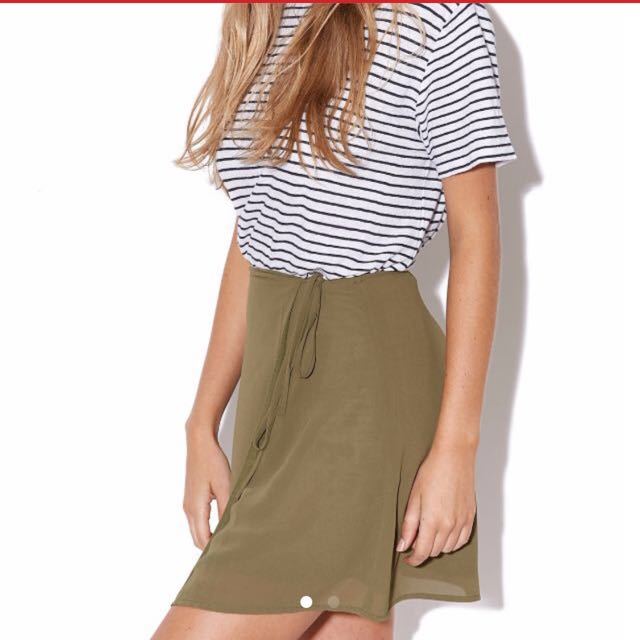 Luck And Trouble Khaki Wrap Skirt