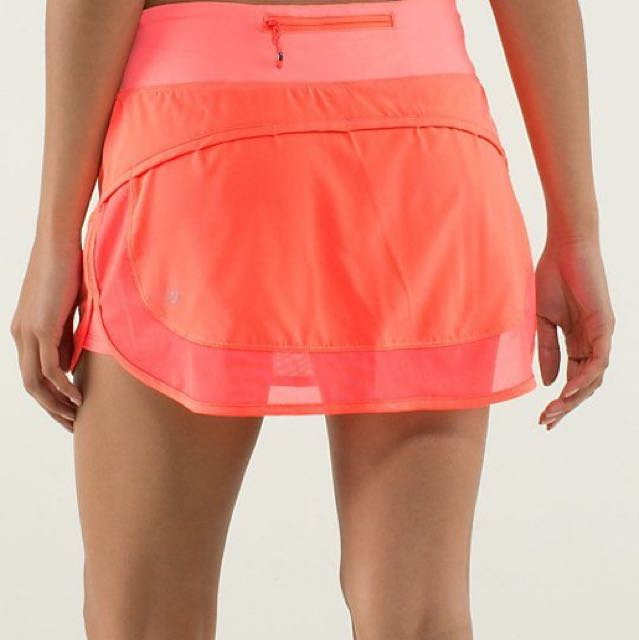 Lululemon Hotty Hot Skirt Coral Neon Pink Skirt Mesh