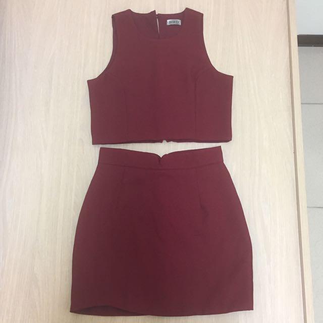 酒紅色雪紡短版背心不規則剪裁合身短裙套裝尺寸M