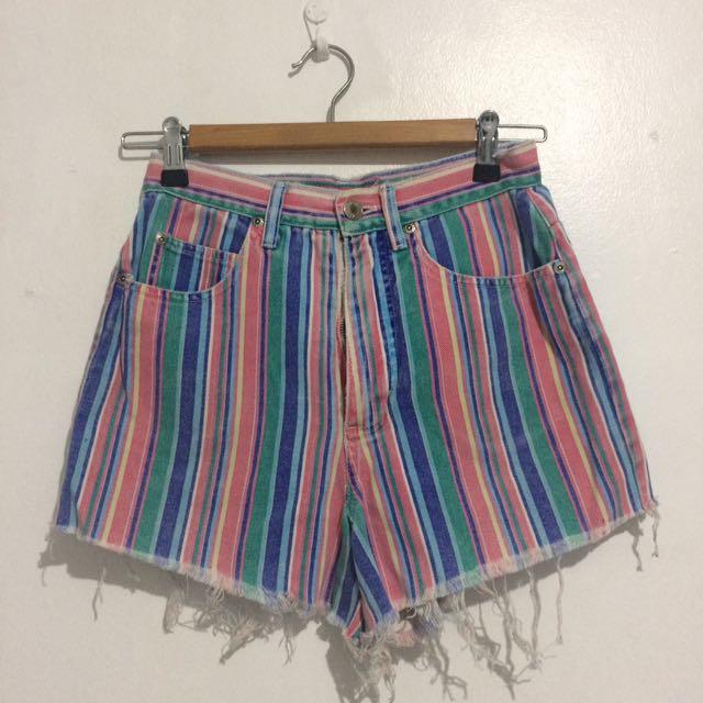 Multi-colored High Waist Shorts