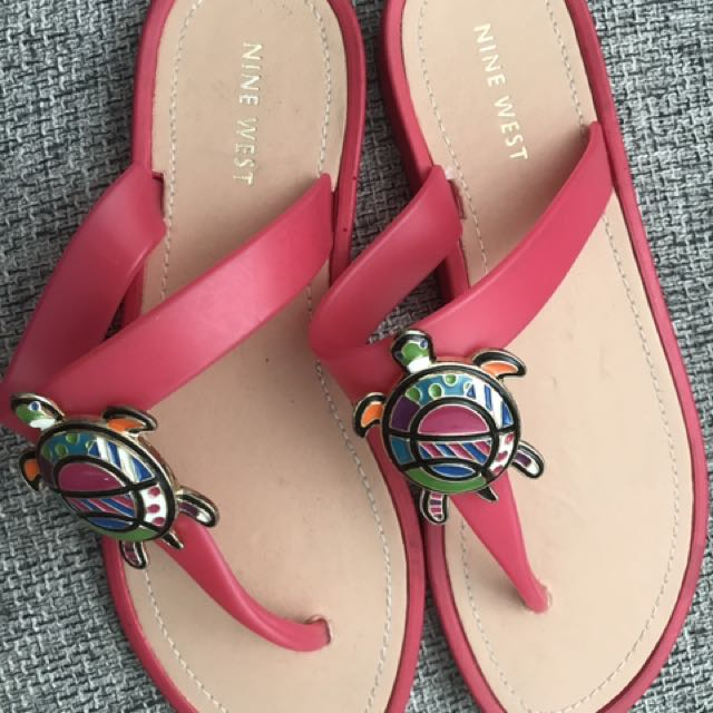 NWOT Nine West 'Neptune' Pink Turtle Sandals