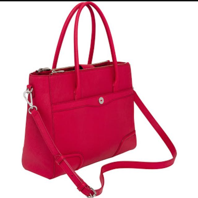 Oroton Melanie Worker Tote Bright Red