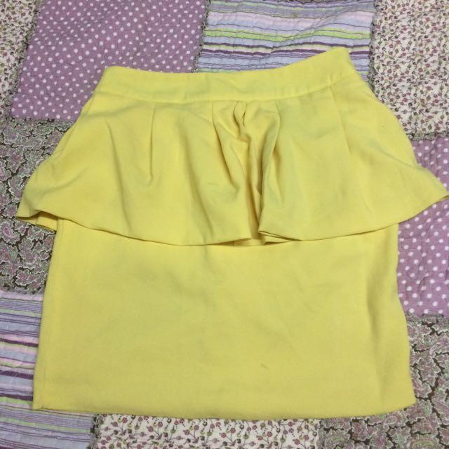 Pastel Yellow Peplum Pencil Skirt