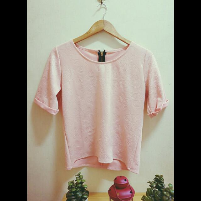 Peach Floral Embossed Blouse