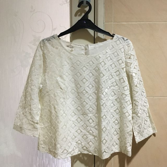 Petite Cupcakes Embroided White Blouse - Size L