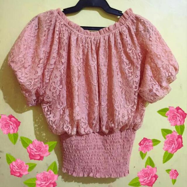 off shoulder pink blouse