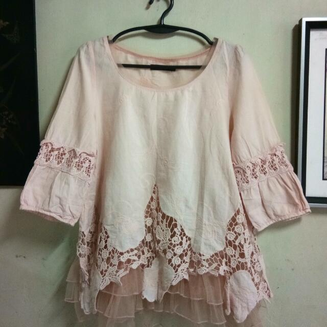 Pink Bottom Laced Shirt