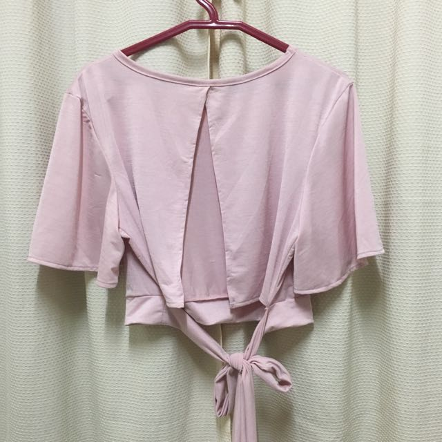 Pink Tie Back Crop Top