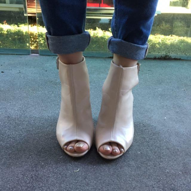 Public Desire Peep Toe Booties Size 6 Uk / 8 Au