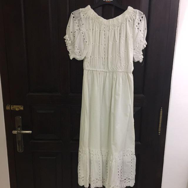 NEW! Sabrina White Midi Dress