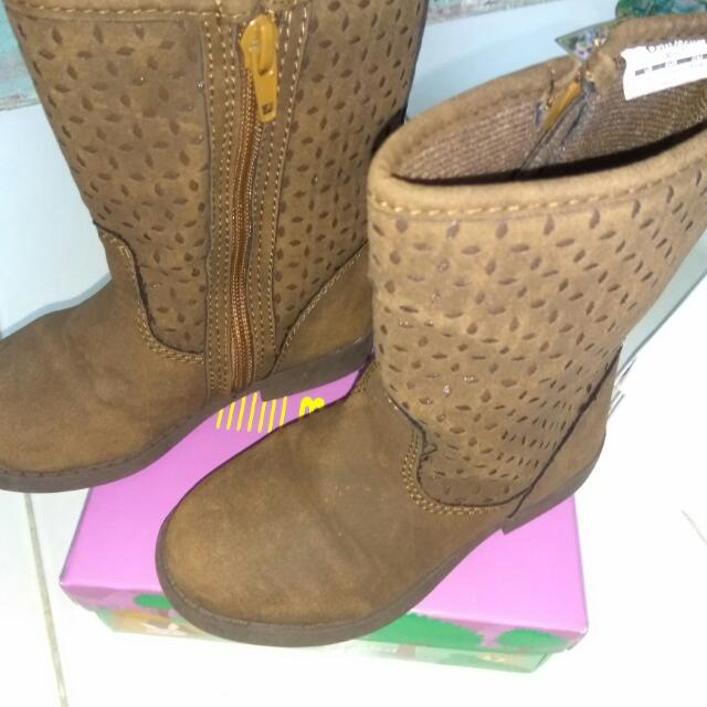 Sepatu Ank Usia 3-5thn..Boots Bhn Halus Kulit Bludru Lmbut Import