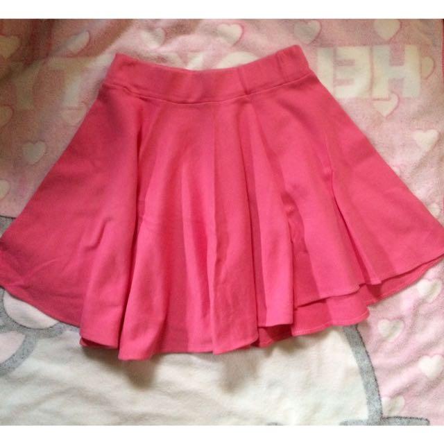 2pcs. Pink And Black Skater Skirt