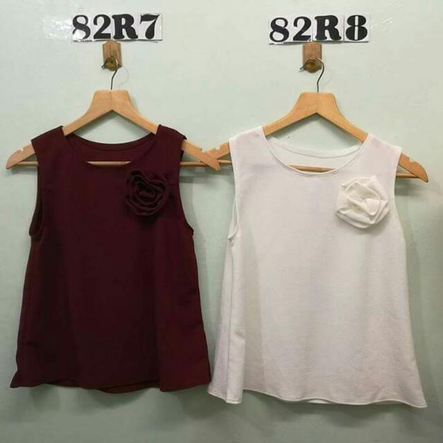 Sleeveless Tops (w/ Rose Design)