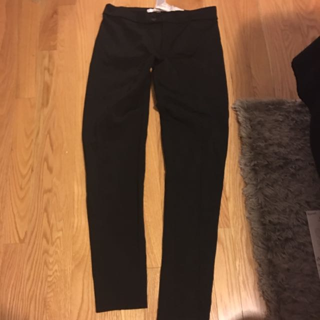 Small (with Lots Of Stretch) Black Mango Tights/skinny Dress Pant. Line Down Center.