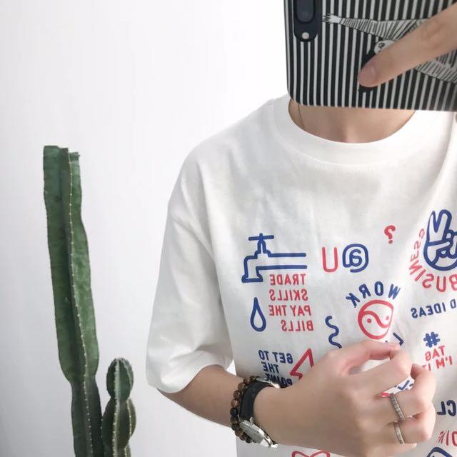 清爽表情印花T恤