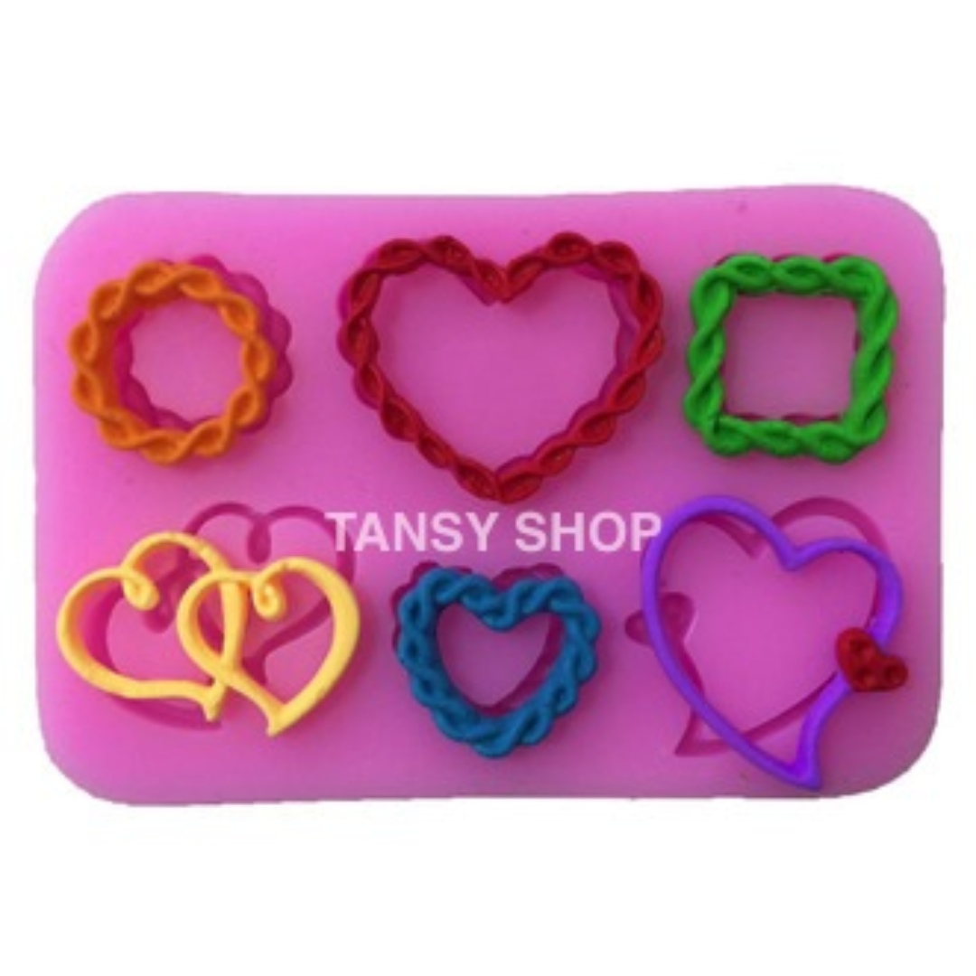 【TANSY SHOP】6連摟空編織愛心裝飾矽膠翻糖模具皂模巧克力模/蛋糕/烘焙超輕粘土模具