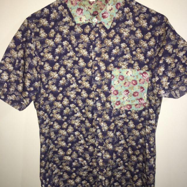 Topman Shirt Floral Short Sleeve