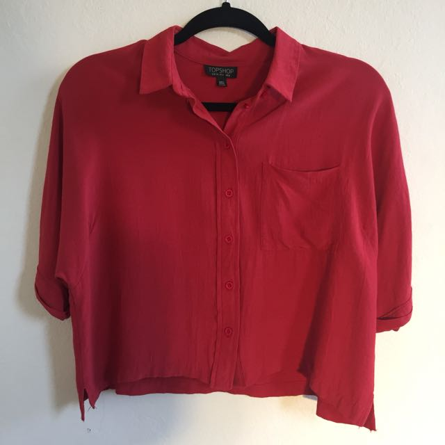 Topshop Red Button Up Top size 8/XS
