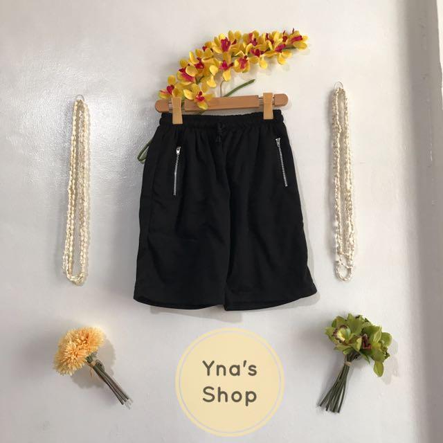 Unisex Black Zippered Pocket Shorts