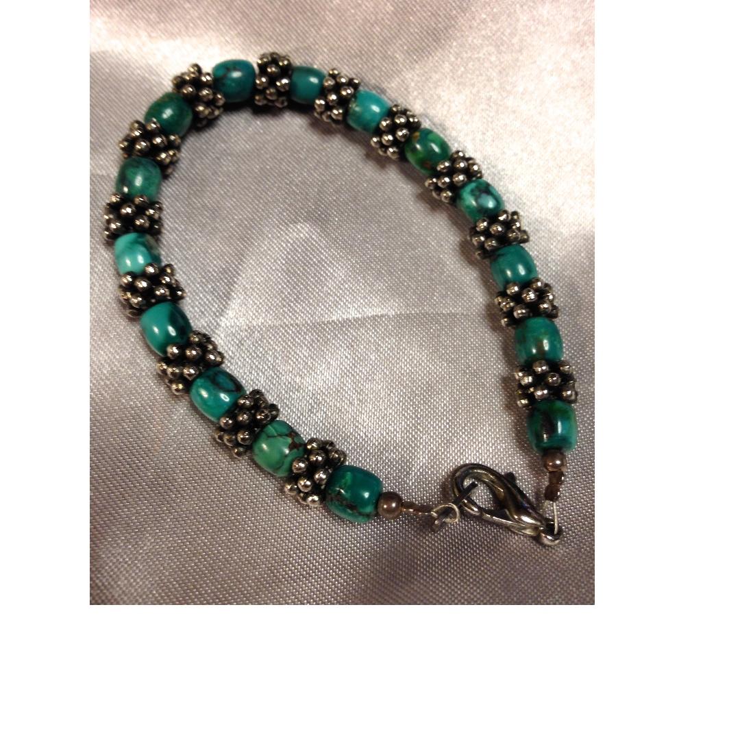 Vintage Bali silver with tumbled turquoise stones bracelet