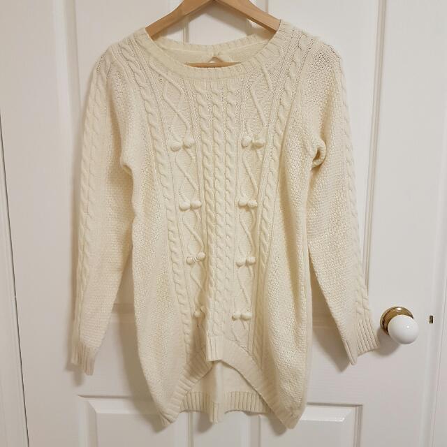Cute Oversized White Knit Jumper /sweater