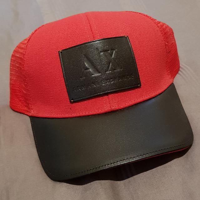 19d0b2d4319 WTS - 💯 Authentic AX Armani Exchange Leather Slim Baseball Cap (hat ...