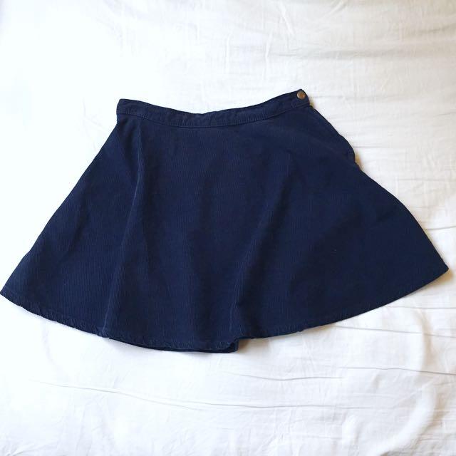 American Apparel Navy Corduroy Circle Skirt M