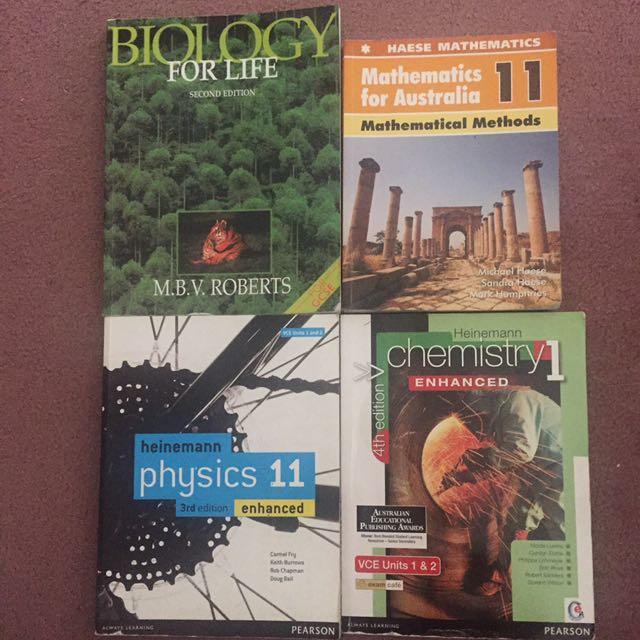 Year 11 Physics, Chemistry, Biology and Mathematics Textbooks