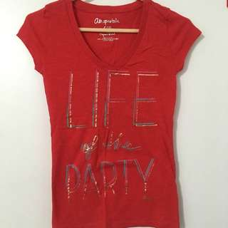 Red Graphic V-Neck Shirt