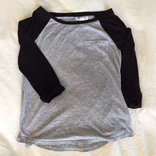 Grey & Black Baseball Tee S/XS