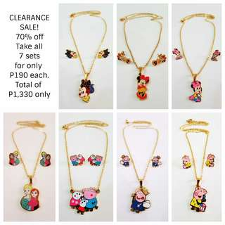 CLEARANCE SALE! DISNEY Stainless Earrings Necklace Jewelry Gift Set Baby Toddler Kid
