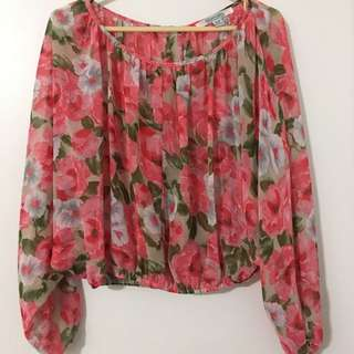 Pink And White Floral Blouse