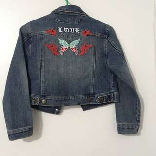 Embroidered Cropped Denim Jacket