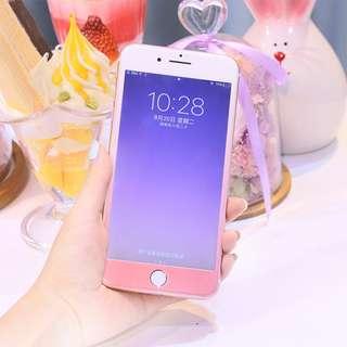 iPhone7 漸層粉嫩色閃粉 手機保護貼 防指纹超薄 滿版鋼化玻璃膜