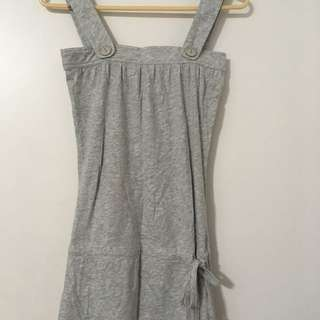 Grey Long Tank Top With Cinching