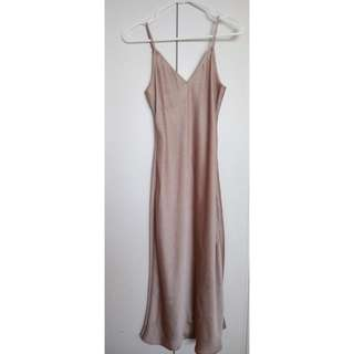 Gold Satin Slip Dress