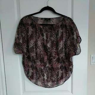 Guess XS Flowy Snake Skin Patterned Blouse