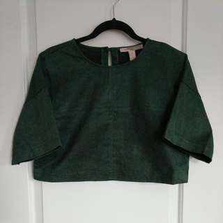 XS Suede Green Crop Top