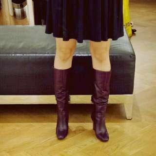 STACCATO Boot. Size 37. Heels 9 Cm. Warna Burgundy. Keren Banget. Was Bought 2.2 Juta-an