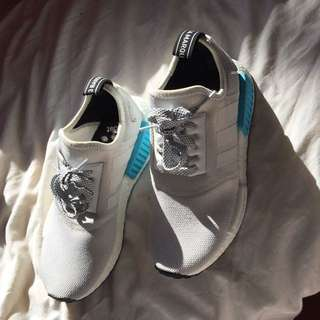 Authentic Adidas White/blue Nmd Size Us 5.5 Eur 38