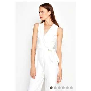 Love & Bravery Adda Tuxedo Jumpsuit in White
