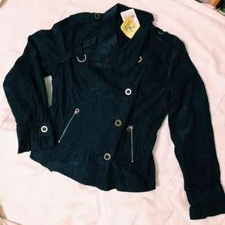 [全新]個性深藍長袖排扣外套