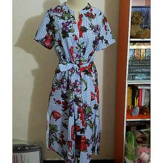 Zara Look A Like Flower Plaid Dress