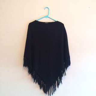 Black Poncho with tassel detail