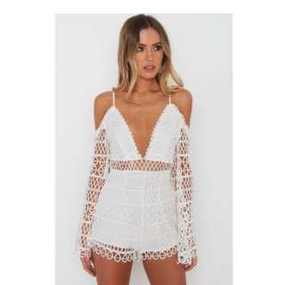 Women's Samara White Romper-White Fox Boutique